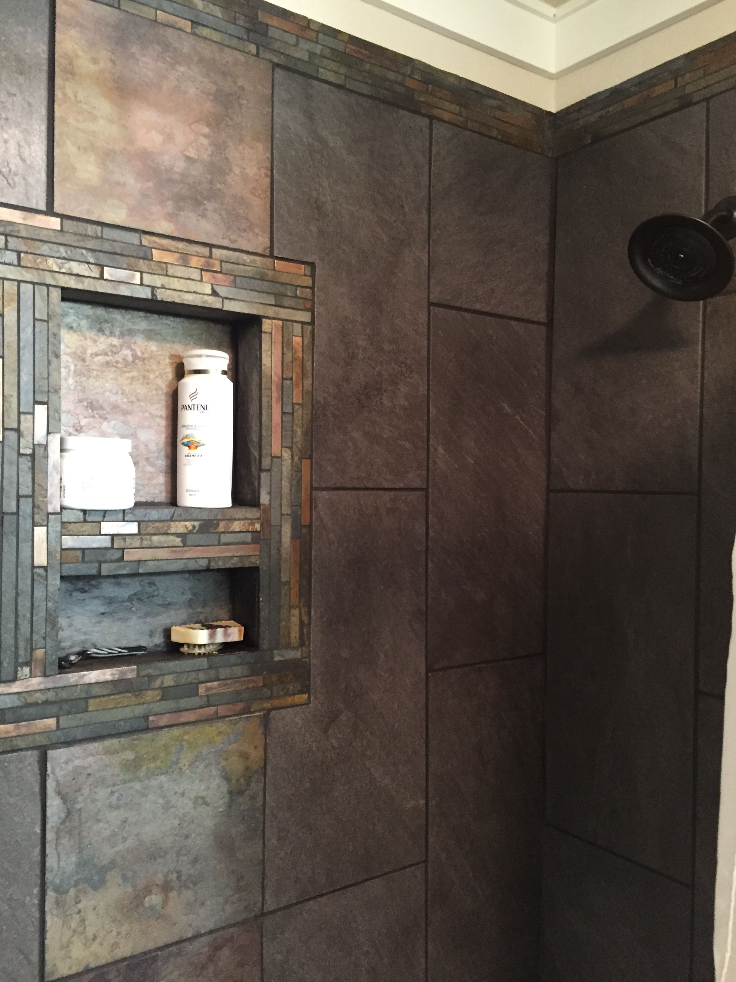Shower Tile Rustic Slate Accents With Large Gray Tiles Rustic Bathroom Shower Slate Bathroom Tile Rustic Flooring