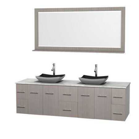 Wyndham Collection Centra 80 inch Double Bathroom Vanity in Gray Oak, White Carrera Marble Countertop, Altair Black Granite Sinks, and 70 inch Mirror