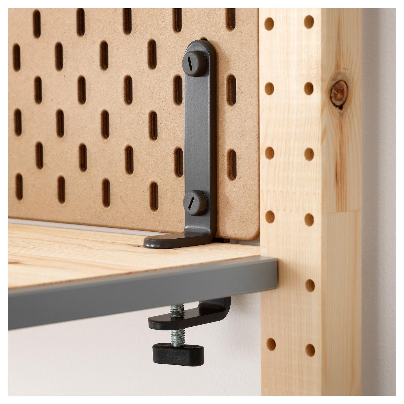Skadis Conector Gris In 2020 Mit Bildern Schreibtisch Selber Bauen Ikea Skadis Lochplatte