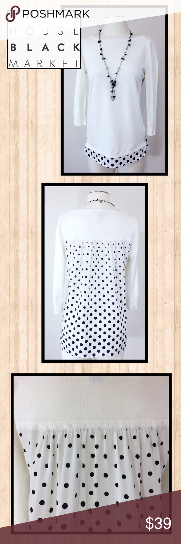 Whbm polka dot woven back top very cute in excellent condition size small non smoking home there is  chart my closet also pinterest white house black rh