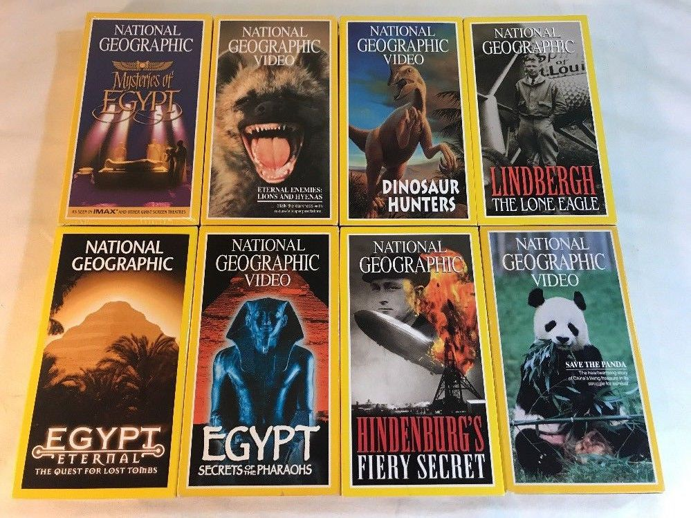 National Geographic Vhs Videos Lot Of 8 Dinosaurs Egypt Hindenurg