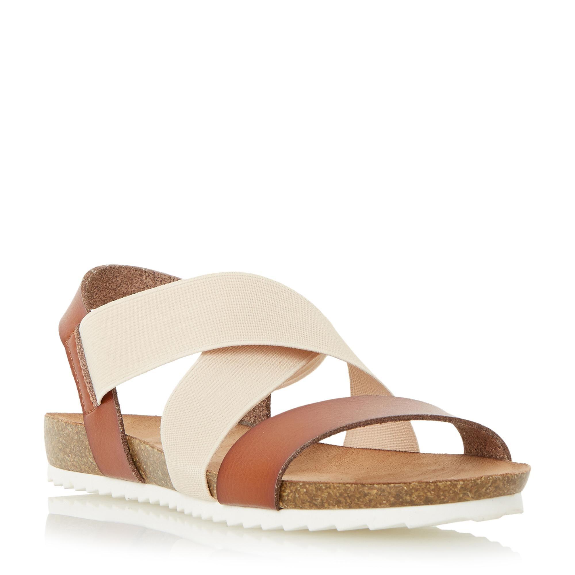 fd90421ea48 HEAD OVER HEELS LADIES LAURELLE - Cross Strap Footbed Flat Sandal - tan
