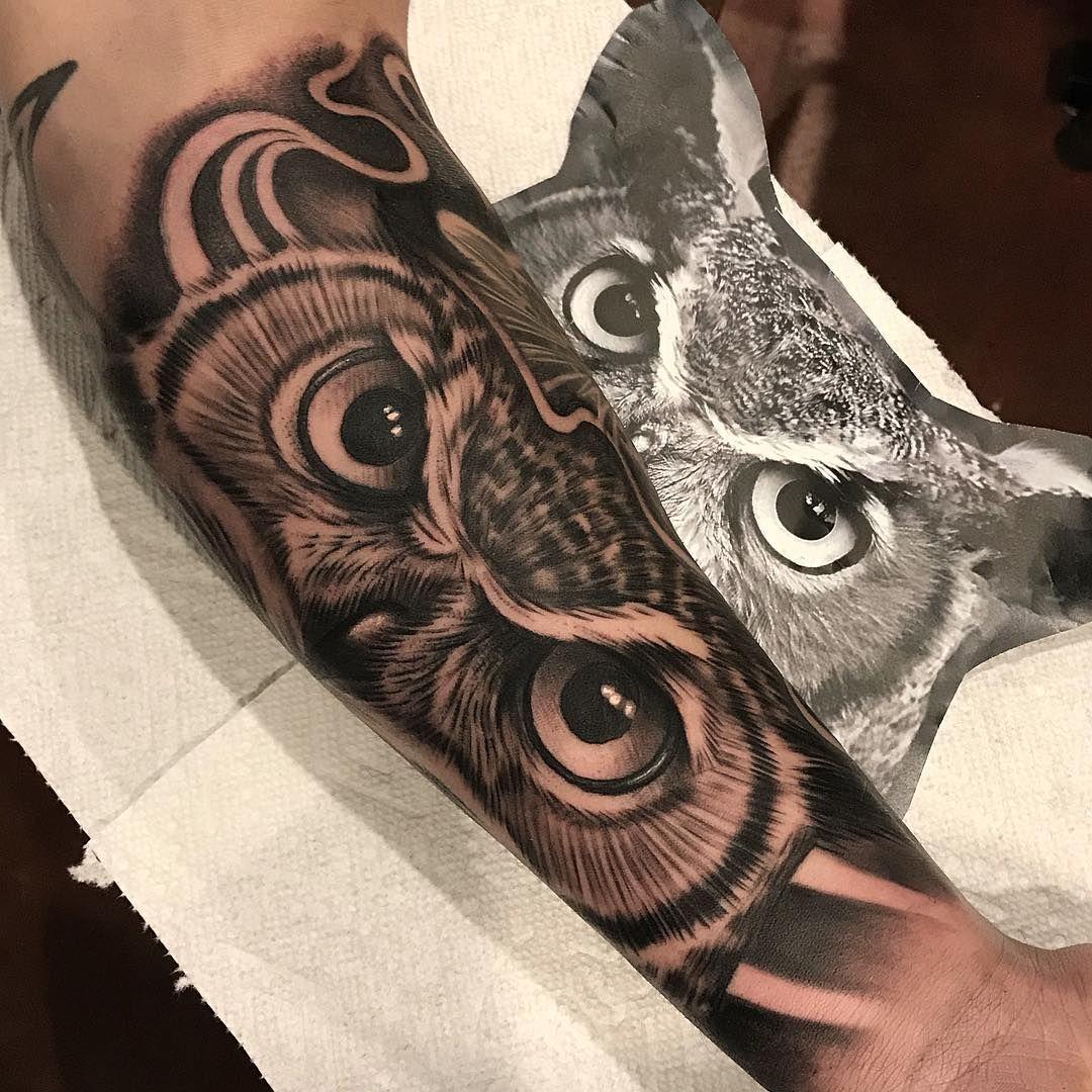 Owl Eyes Utgink Tatuagem Coruja Tatuagem De Coruja Tatuagem Masculina Antebraco