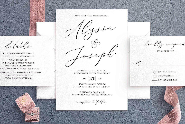 Simple Wedding Invitation Template Minimalist Wedding  Etsy in