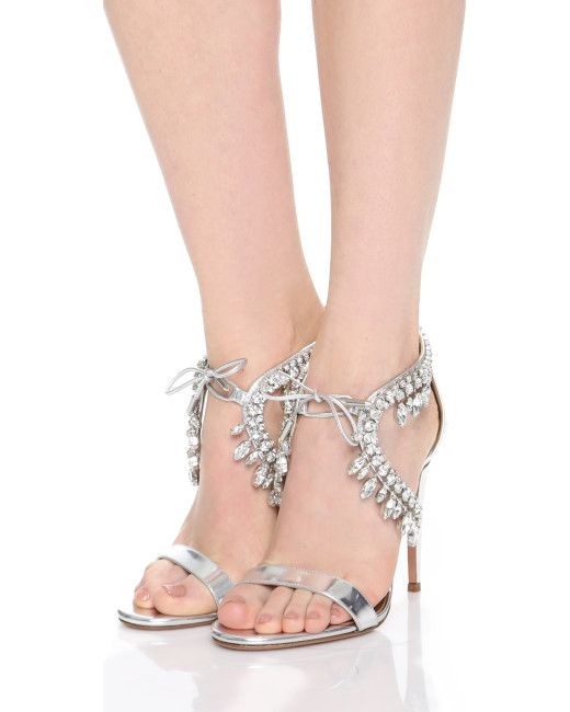 b0a1afef0 Aquazzura | Silver Milla Jewel 105 Embellished Metallic Leather Sandals |  Lyst