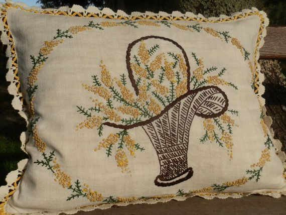 A Pair of  French Vintage Hand Embroidered Cushions  by GoshnPoche, $70.00
