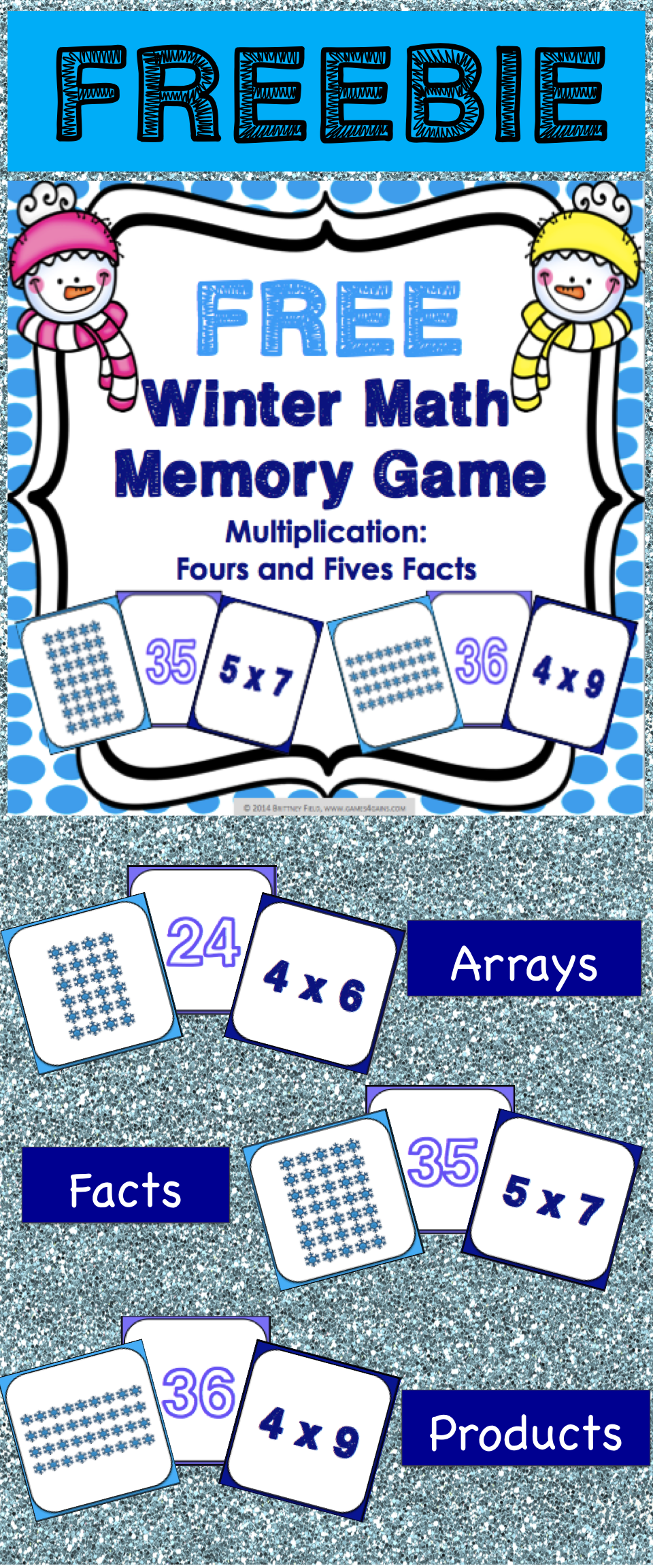 Winter FREE: This winter math game makes practicing fours and fives ...