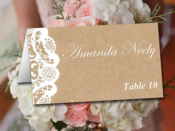 Fold Over Wedding Place Card Template - Kraft Escort Card - Vintage