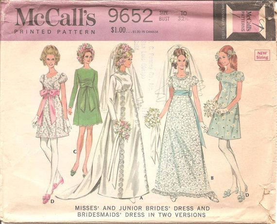 1960s Wedding Dress Pattern McCall\'s 9652 Vintage by ErikawithaK ...