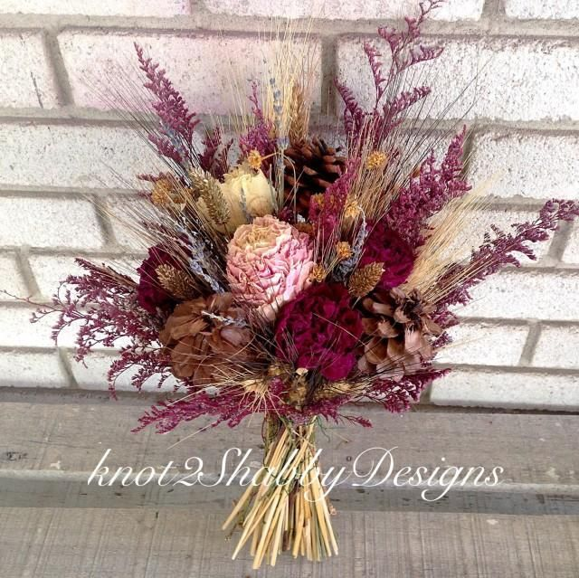 Fall bridal bouquet - dried flowers - peonies - peony - pinecone bouquet - wheat - lavender - bridesmaid bouquet rustic bouquet #weddingbridesmaidbouquets