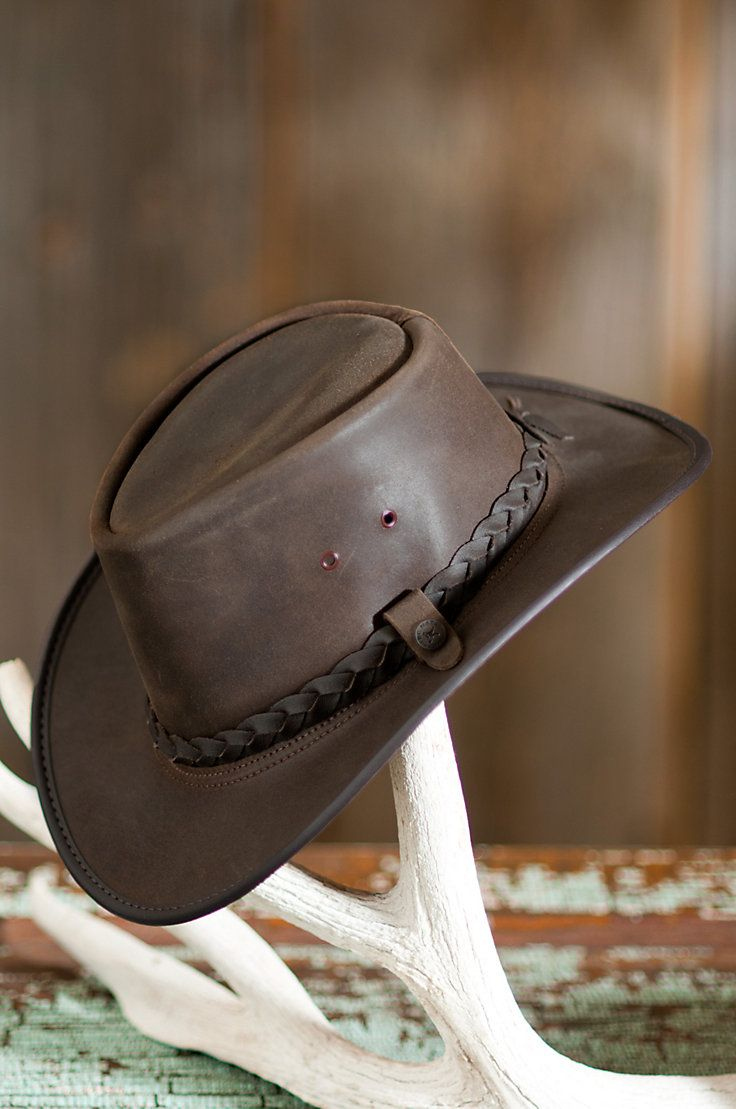 You Ll Get Noticed In This Hat That Features The Distinctive Simplicity Of Crushable Leather With A Braided Leather Hatband Leather Hats Hats For Men Leather