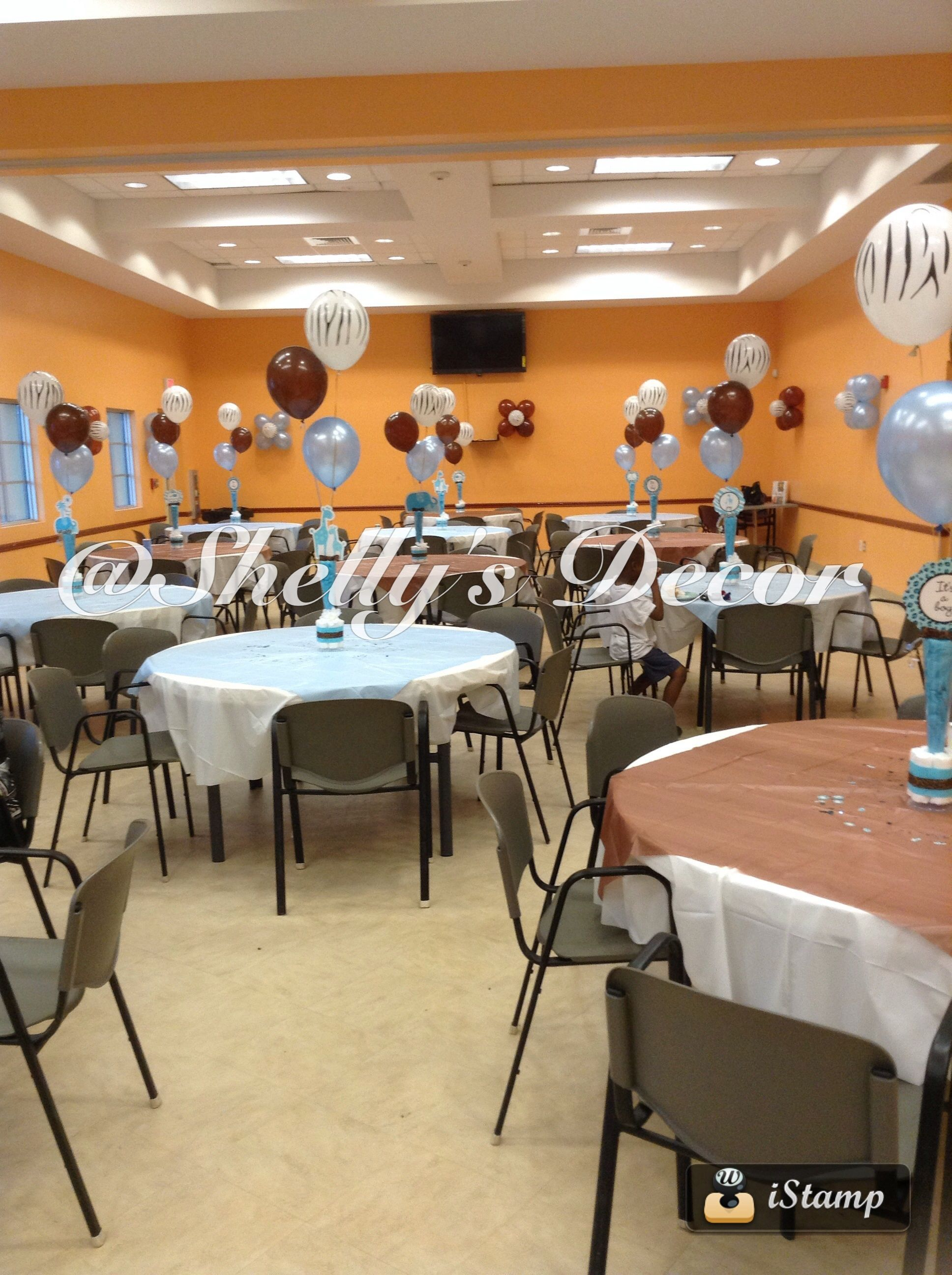 Table set Up, Plastic Table Covers, and Overlay, Baby Shower, Safari ...