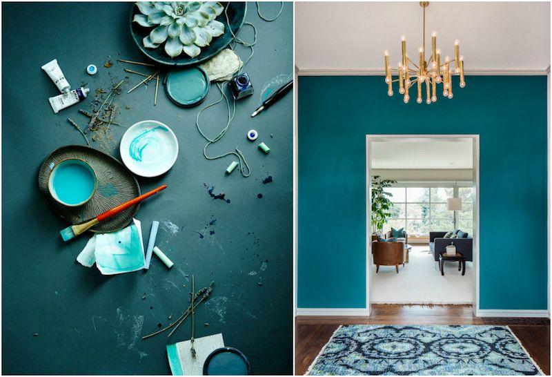 Déco bleu canard- idées de peinture murale, meubles et objets déco