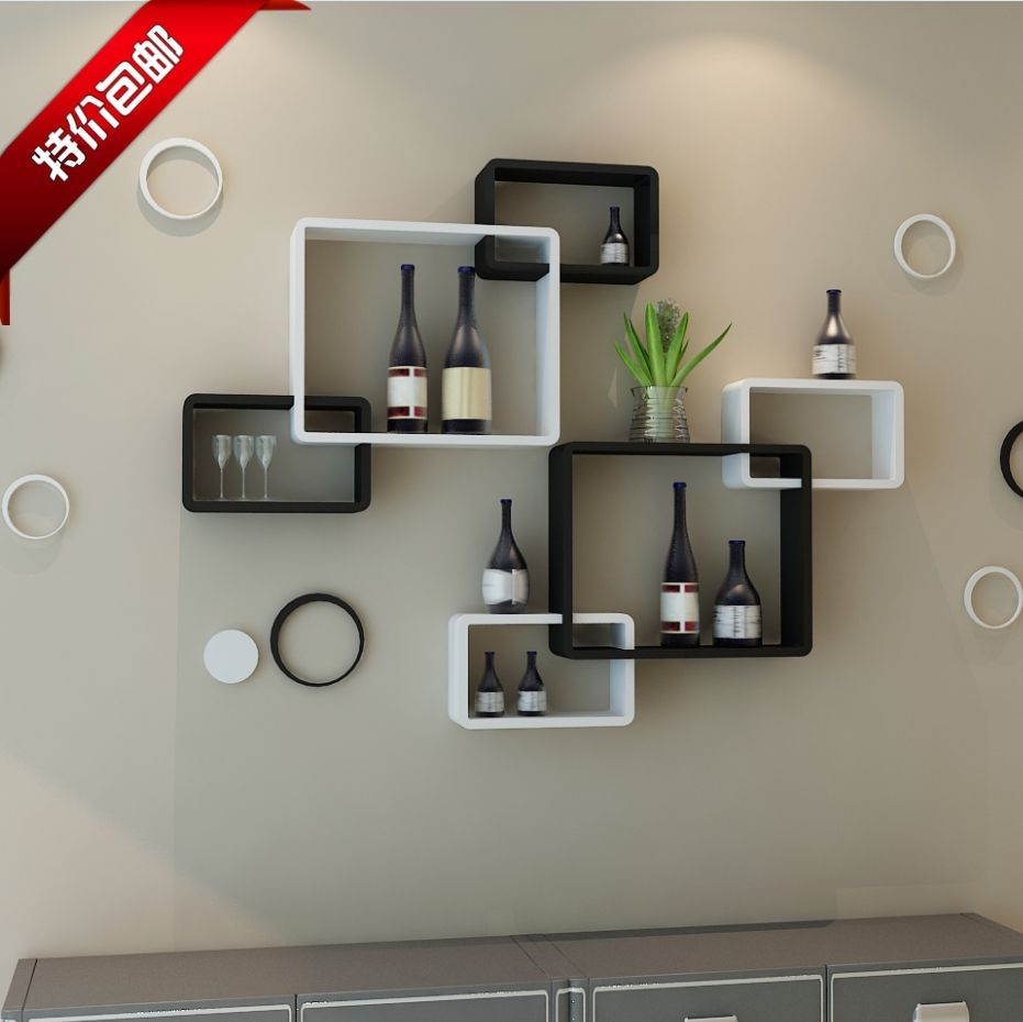 Living Room Wall Shelf Tv Background Wall Shelving Cross Creative Lattice Shelf Clapboard