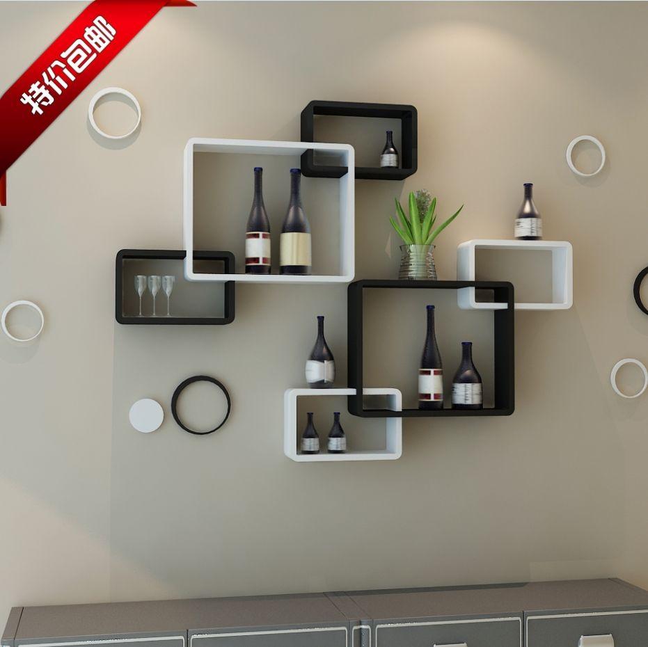 TV Background Wall Shelving Cross Creative Lattice Shelf Clapboard  Restaurant Living Room Living Room Wall Mount