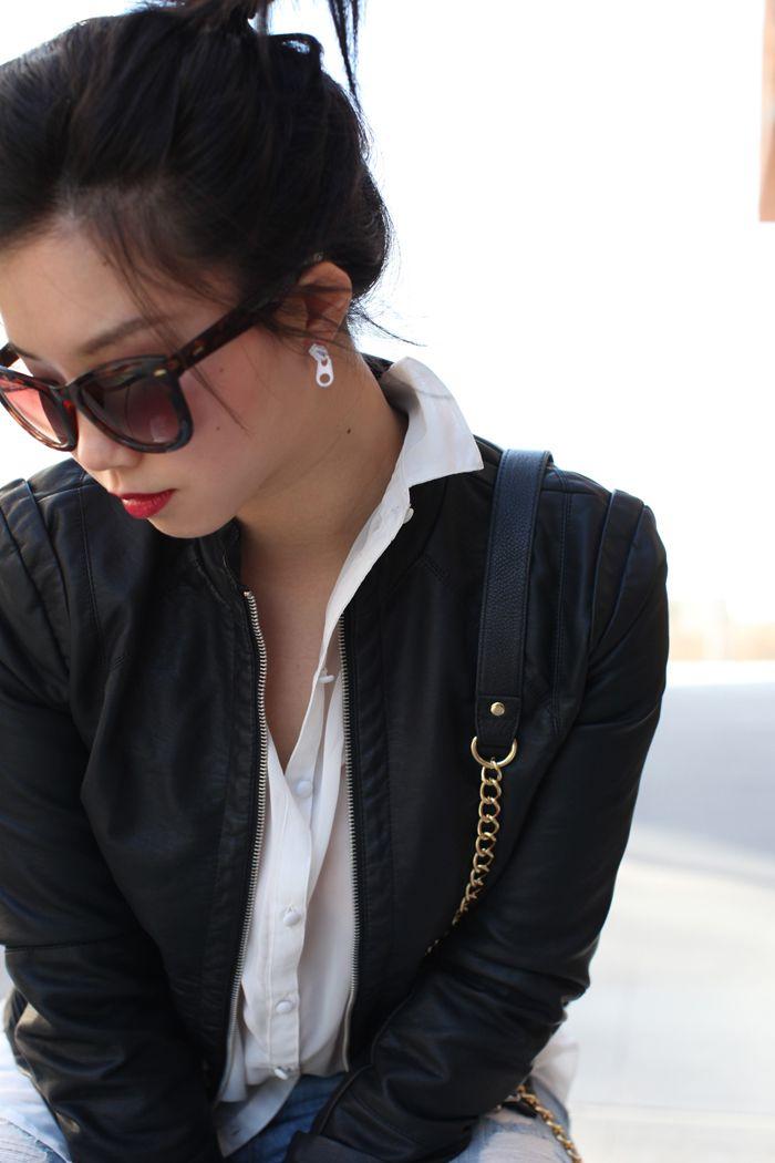 black leather white shirt