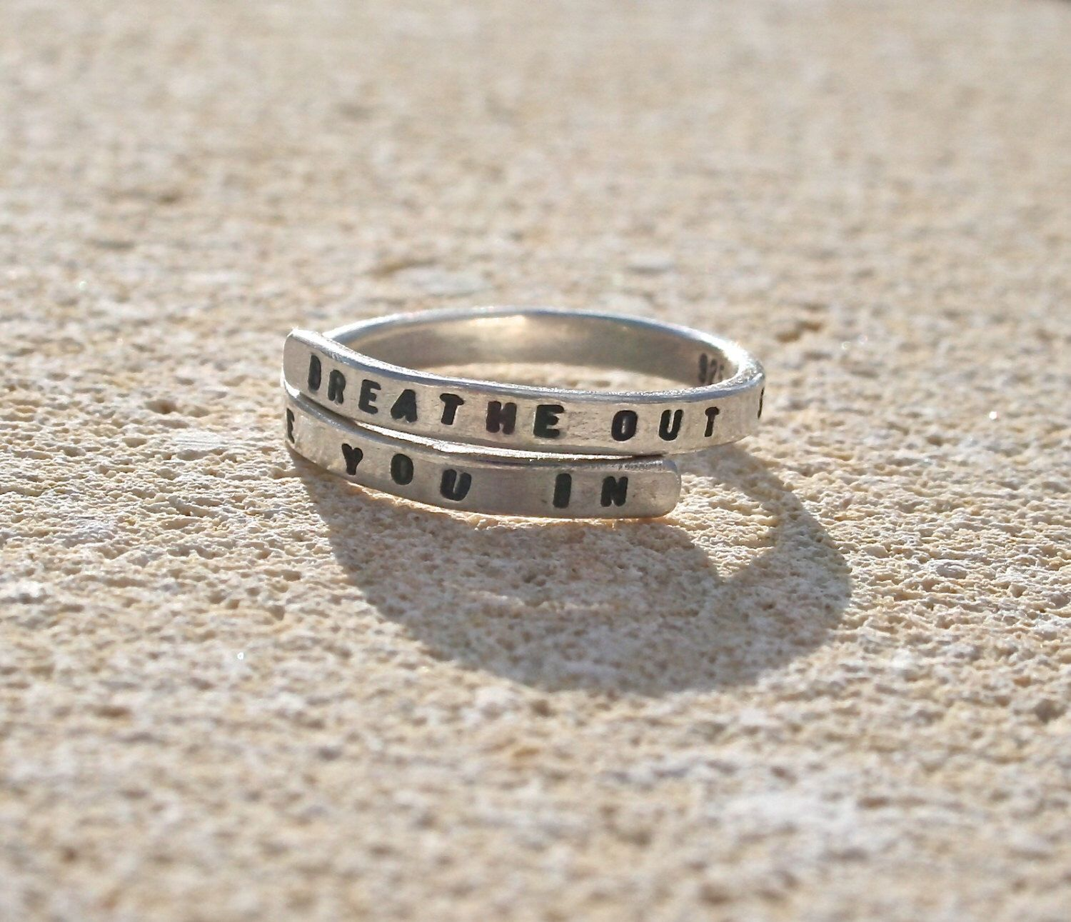Handmade Lyric Ring Breath out so I can breathe you in Sterling