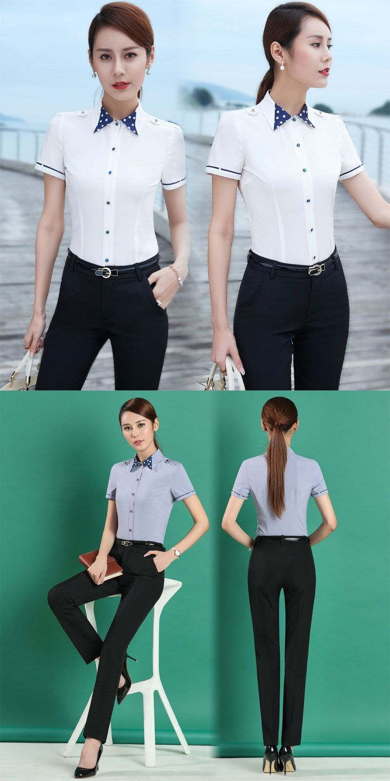 Summer Slim Fit Fashion Formal Professional Pantsuits With Tops And ...