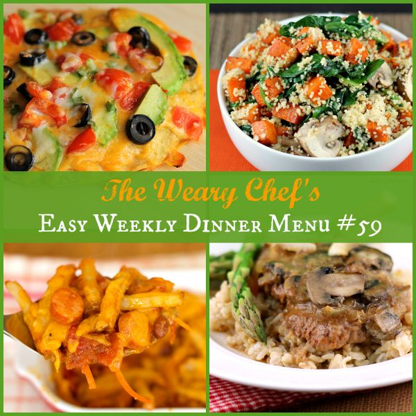 Easy Weekly Dinner Menu #59: Cube Steaks in Gravy, Mexican Pizzas, Chili Dog Casserole, and lots more! #dinner #mealplanning