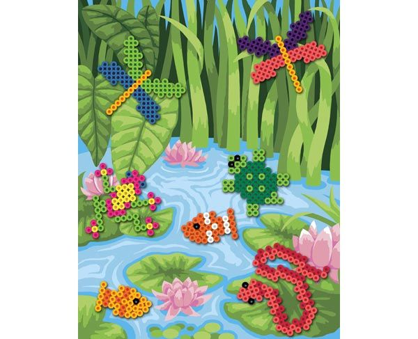 With this terrific project, you create a whole scene and make the pond come to life with your Perler Bead creatures! The background picture of the pond is available to download and print.