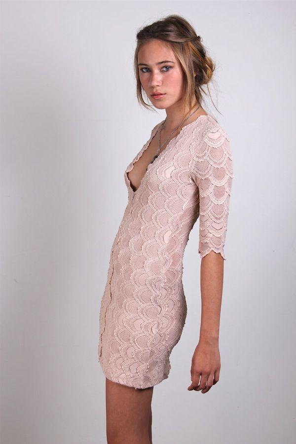 Nightcap Clothing Deep V-Victorian Dress in Nude  fbf83d21c