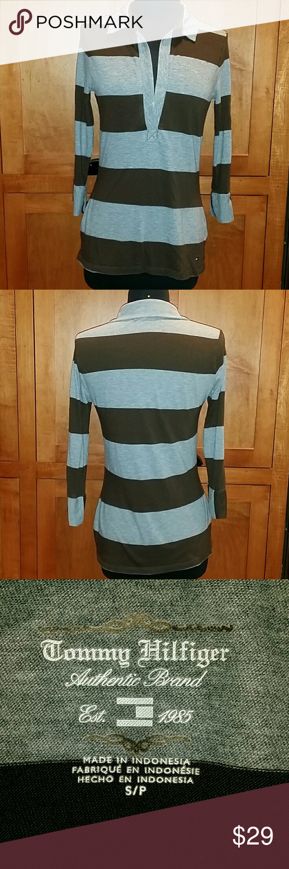 Tommy Hilfiger Striped Knit Blouse S/P, nonsmoking household,  47% Pima Cotton,  34% Polyester,  19% Modal. Gray & Brown Striped Polo. Tommy Hilfiger Tops