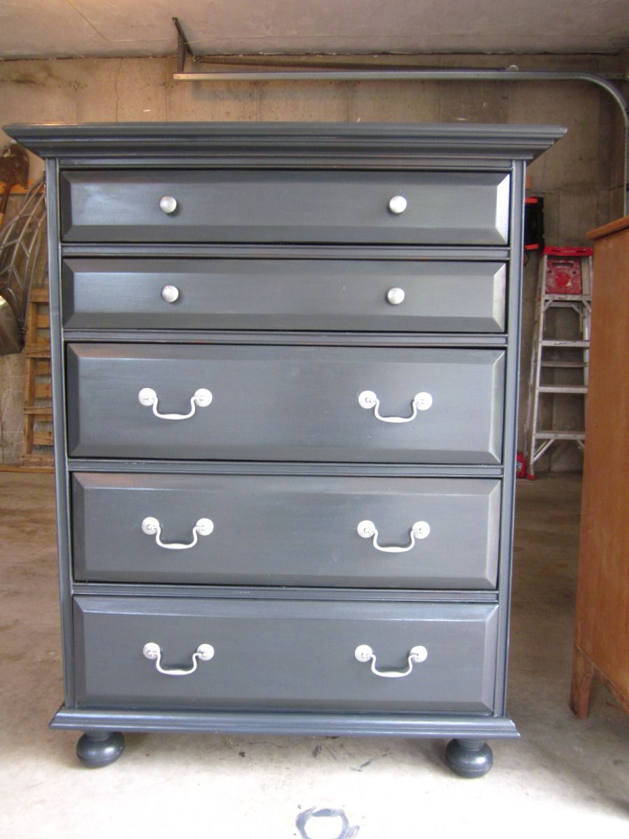 Tall Dark Gray Dresser Painted With Annie Sloan Chalk Paint In Charcoal Gray.  Furniture Makeover