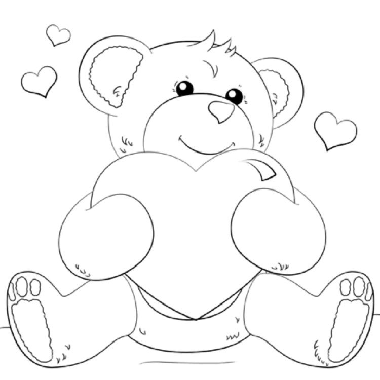 Teddy Bear Heart Coloring Pages Heart Coloring Pages Teddy Bear Coloring Pages Bear Coloring Pages