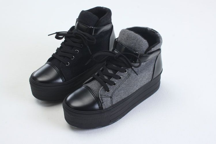 Womens Lady Hi-Top Shoes Sneakers Ankle Casual boots Trainers Shoes Black Gray