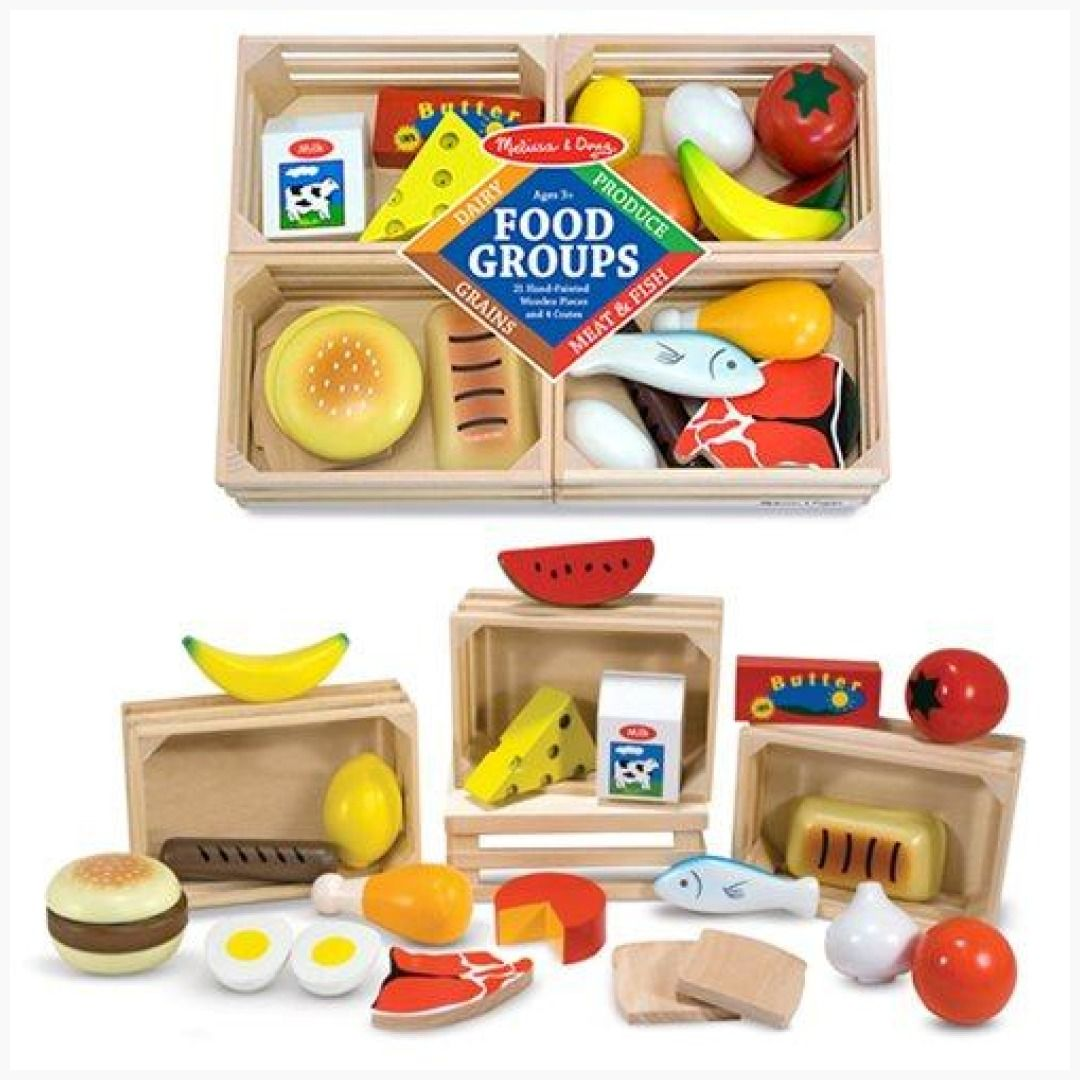 Melissa doug food groups wooden play set group meals