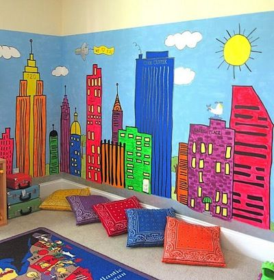 Beautiful Cityscape Wall Mural In Playroom   And So Much More On This Page! Photo