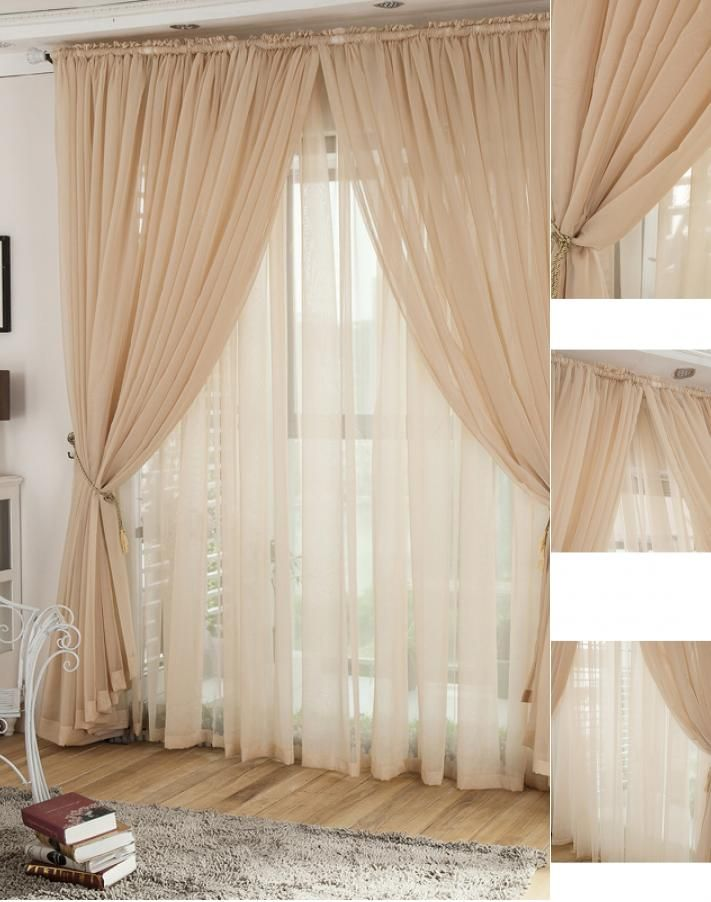 Romantic Champagne Yarn Lace Curtains For Living Room Living