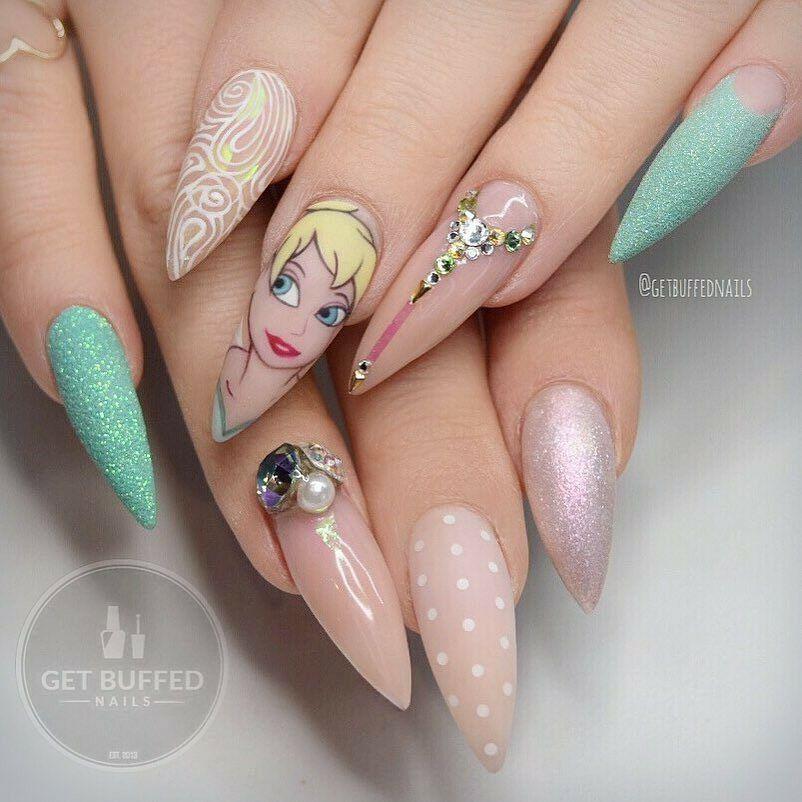 Pin By Brianna Leyva On Nail Art In 2019 Disney Nails Disney Inspired Nails Pointy Nails