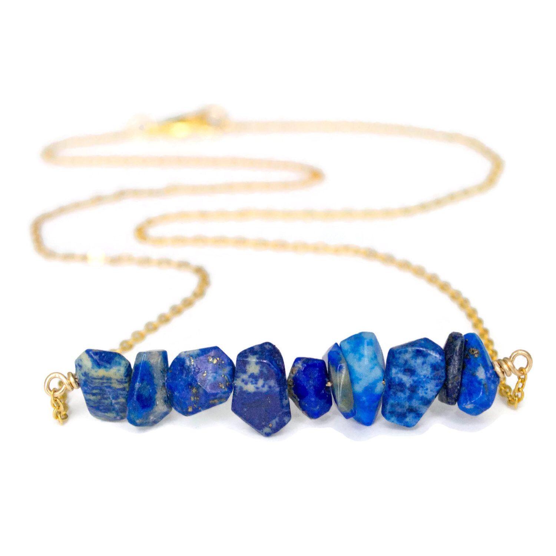 Gold Lapis Lazuli Necklace, Lapis Lazuli Bar Necklace, Lapis Lazuli Layering Necklace, Blue Lapis Necklace, Gemstone Chip Necklace by Gemstonique on Etsy https://www.etsy.com/listing/260513066/gold-lapis-lazuli-necklace-lapis-lazuli