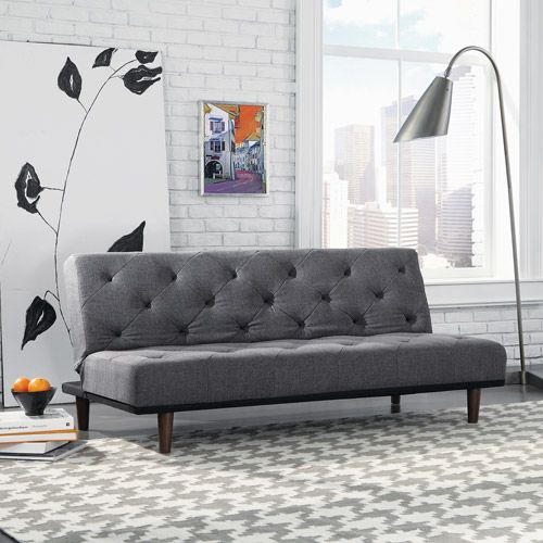 Sauder Premier Crash Convertible Sofa Dark Gray