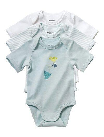Lote de 3 bodies de manga corta bebé mixto AZUL CLARO LISO+GRIS CLARO LISO+ROSA CLARO LISO