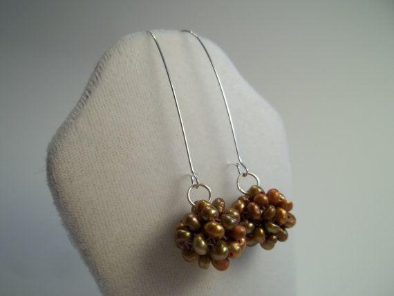 Golden Pearl Drop Dangle Earrings by EBLDesigns on Etsy,