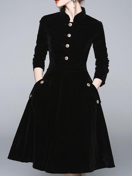 Women Buttons Stand Collar Three Quarter Sleeve Dress