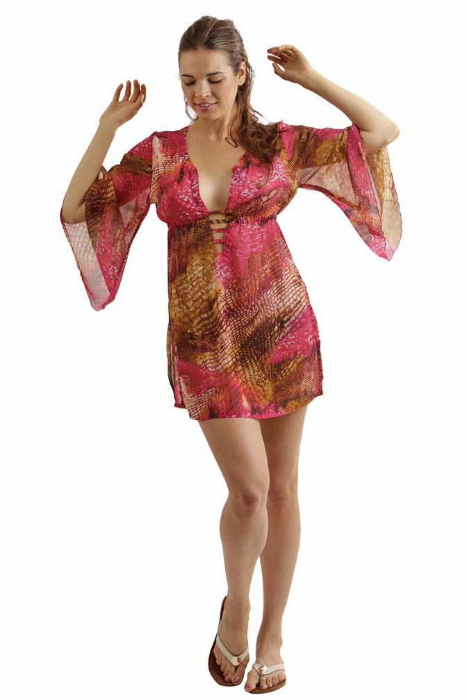 ea14f192c5d85 Multicolor Print Plus Size Semi Sheer Beach Dress | Swimwear & Cover-Ups