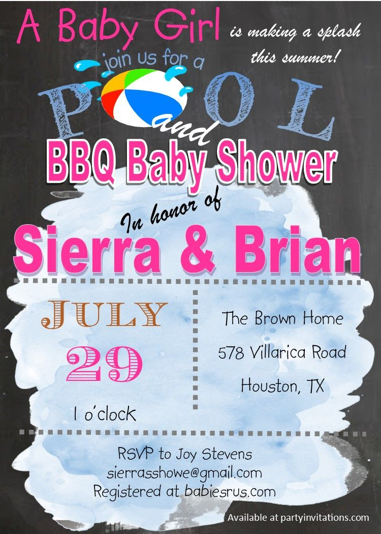 Pool and BBQ Baby Q shower invitations | summer and pool party ...