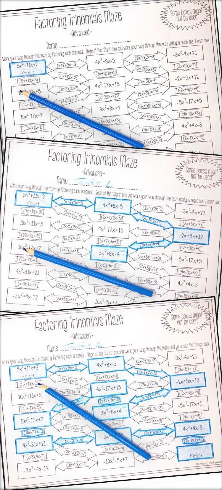 Factoring Polynomials (Trinomials) Maze Advanced