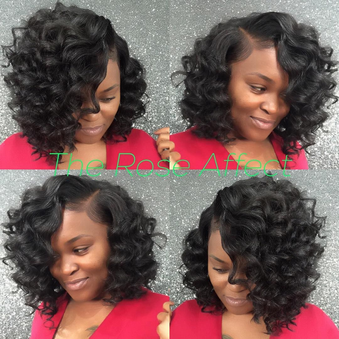 Short sew in curly hairstyles