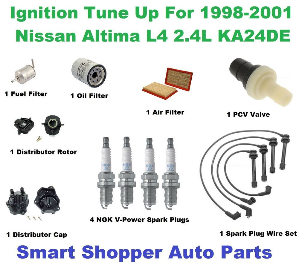 Ignition Tune Up For 1998-2001 Nissan Altima L4 Spark Plug Wire Set, Filter,  Cap #AftermarketProducts