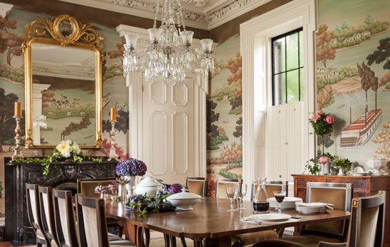 Beautiful Traditional Dining Room With Stunning Mural In Charleston Renovation SLC INTERIORS