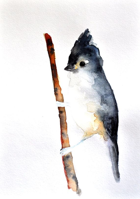 Titmouse Original Watercolor Painting Abstract Bird 6x8 Inch