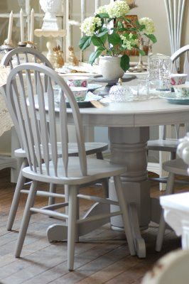 Grey Kitchen Table And Chairs Tufted Dining Sale Painted Farrow Ball Elephants Breath Home