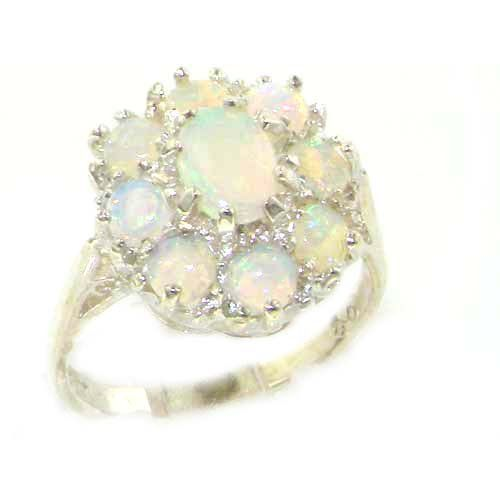 Luxury Ladies Solid Sterling Silver Natural Opal & Aquamarine Large Cluster Ring gvE0DMC