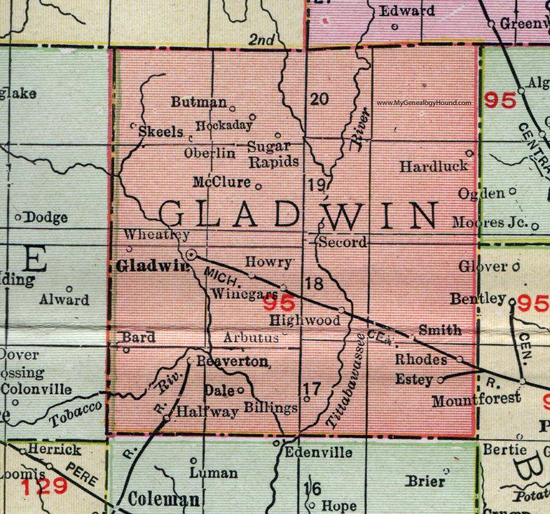 Coleman Michigan Map.Gladwin County Michigan 1911 Map Rand Mcnally Beaverton Rhodes