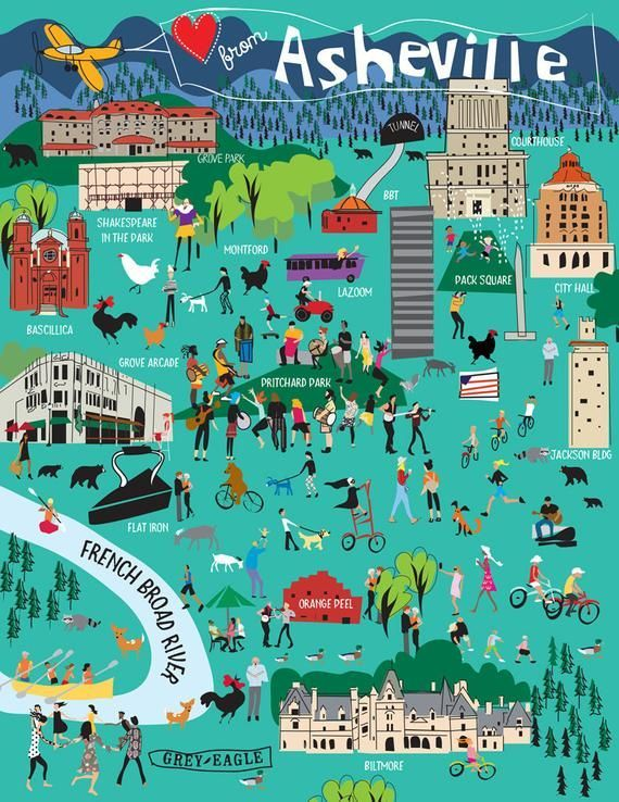 Illustrated Asheville, NC Map Poster