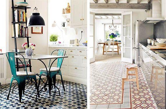 Mosaico hidr ulico para decorar los suelos de tu cocina - Suelos para cocinas blancas ...